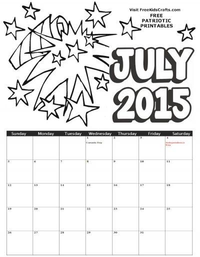 2015 July Coloring Calendar