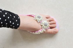 Beaded Flower Flip-Flops