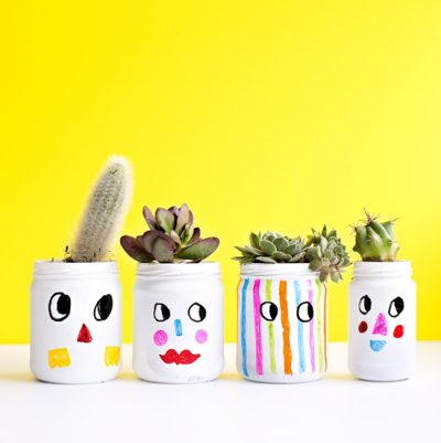 Funny Faces Painted Jars