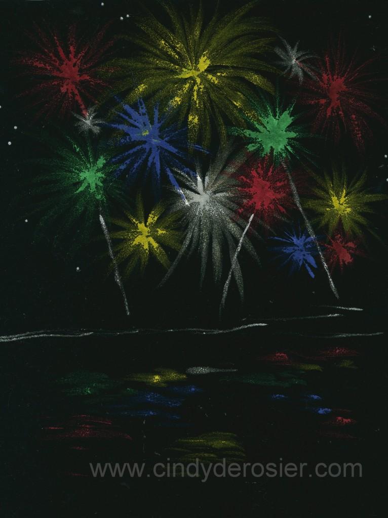 Black Velvet Fireworks Painting