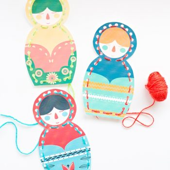 Matryoshka Doll Lacing Cards