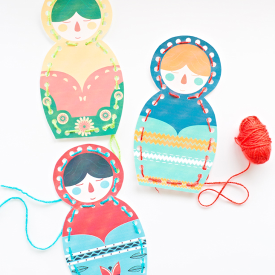 Matryoshka Doll Lacing Cards