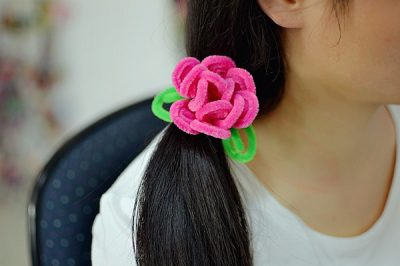 Chenille Stem Flower Hair Band
