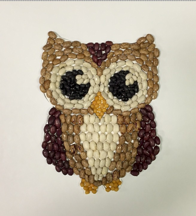 bean-owl-mosaic Easy Christmas Food Crafts