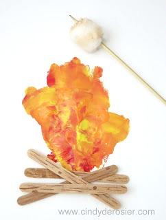 handprint campfire craft for kids