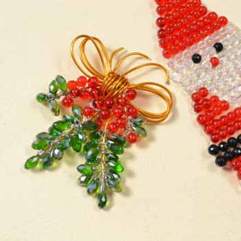 Beaded Holly Ornament