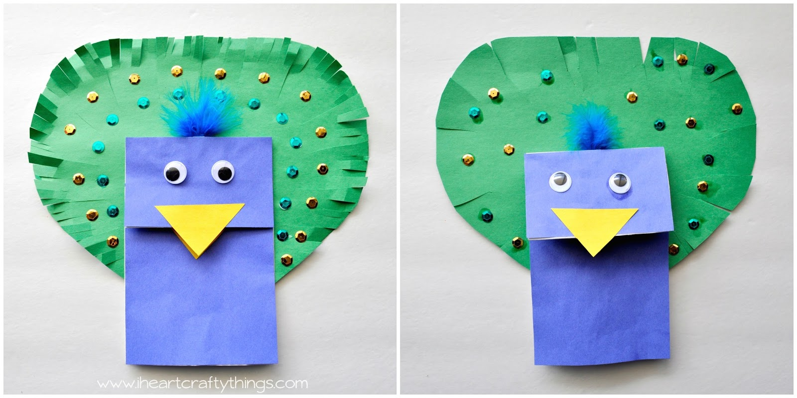 Paper Bag Peacock Puppet