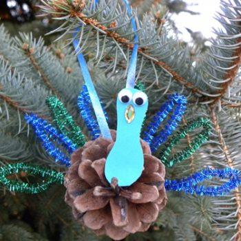 Pinecone Peacock Ornament