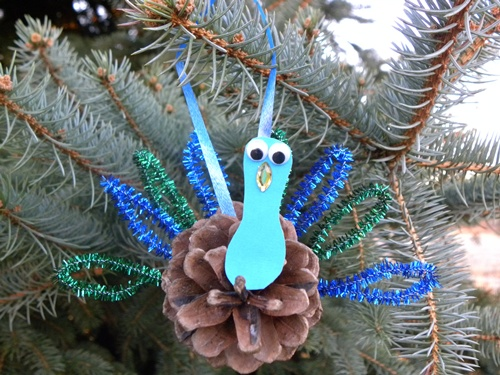 Pine Cone Peacock Ornament