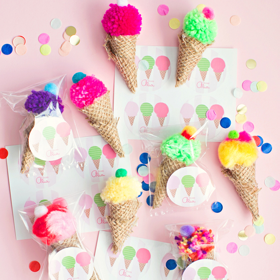 Pom Pom Ice Cream Cones