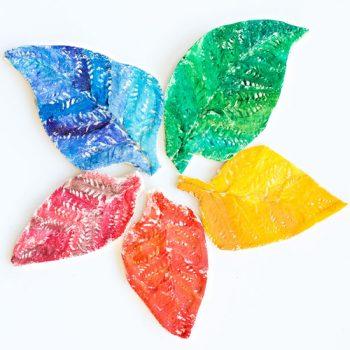 Rainbow Salt Dough Leaves