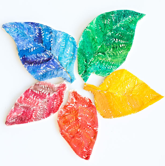 Rainbow Salt Dough Leaves | Fun Family Crafts