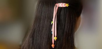 Ribbon Hair Clips with Acrylic Beads