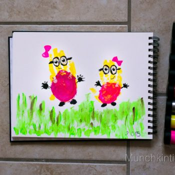 Minion Girls Handprint Art