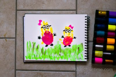 Girl Minion Handprint Art