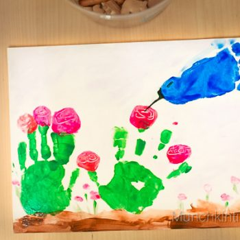 Hummingbird and Flowers Handprint Craft