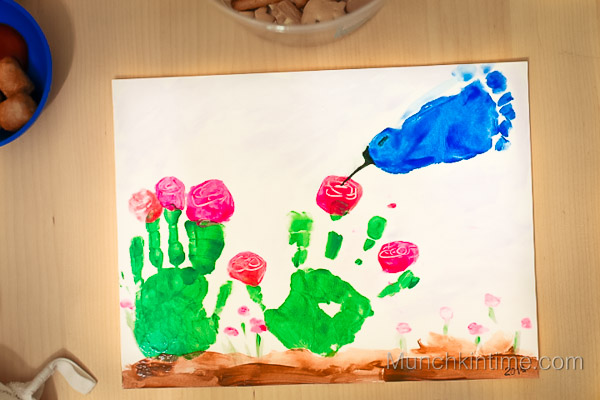 Hummingbird And Flowers Handprint Craft Fun Family Crafts