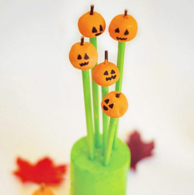 Pumpkin Clay Pencil Toppers
