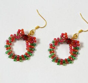 Beaded Christmas Wreath Earrings