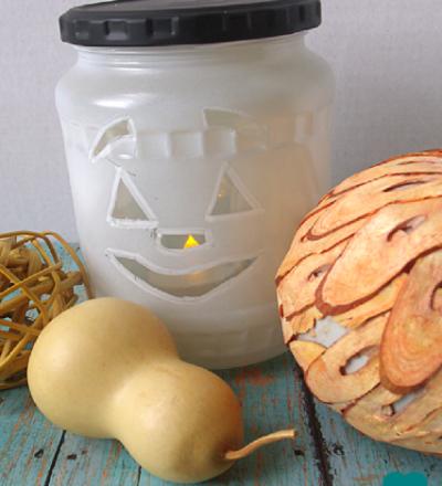 Recycled Jar Jack-o-Lantern