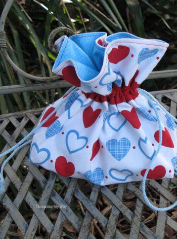 Drawstring Bag for a Spool Knitting Kit