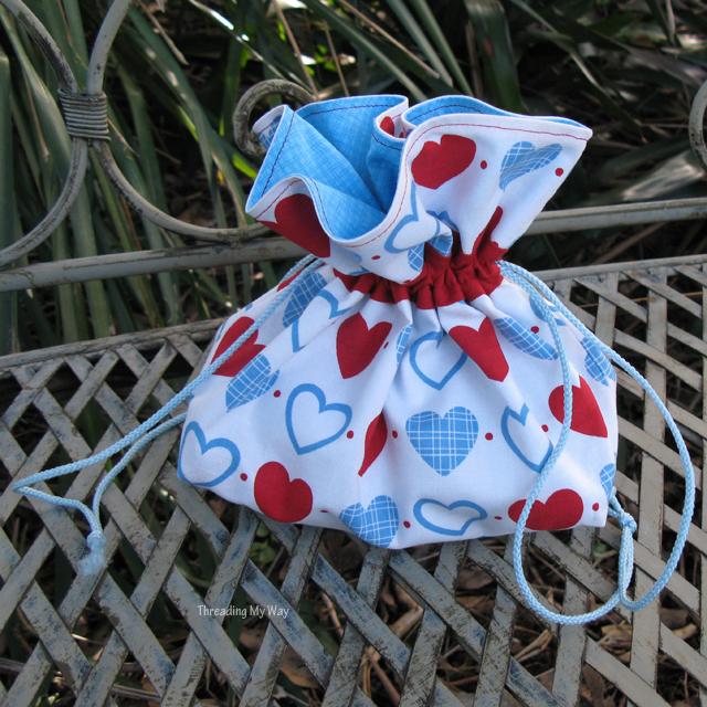 Drawstring Bag for a French Knitting Kit