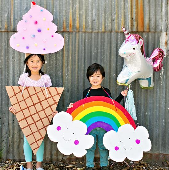 Rainbow Cardboard Costume