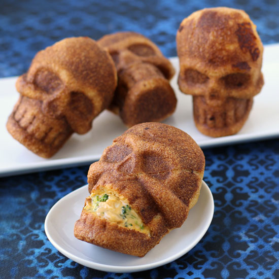 Cheesy Broccoli and Chicken Stuffed Skulls