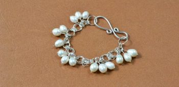 Jump Ring Bracelet with Pearl Dangles