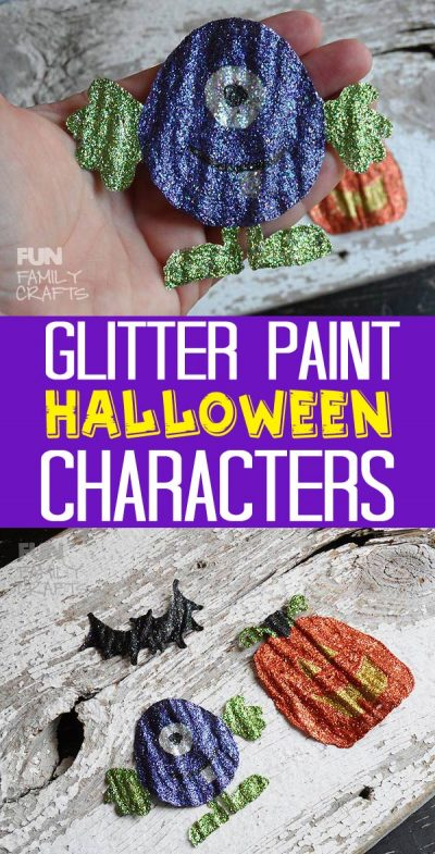 Have some Halloween fun with this glitter paint craft! Make cute monsters, pumpkins, ghosts, whatever you want. All you need is glitter paint and parchment paper for this fun kid's craft.