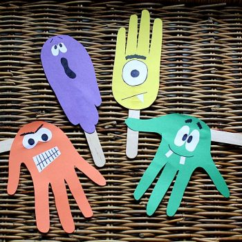Monster Handprint Puppets