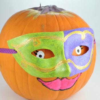 Masquerade Mask Decorated Pumpkin