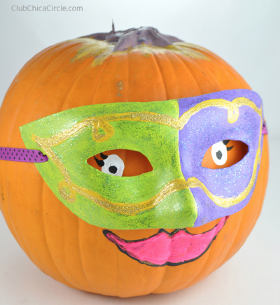 Masquerade Mask Decorated Pumpkin