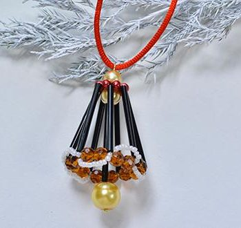 Beaded Christmas Bell Ornament