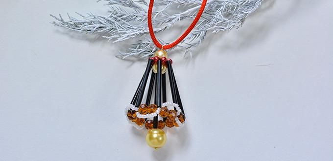 Beaded Christmas Bell Ornament