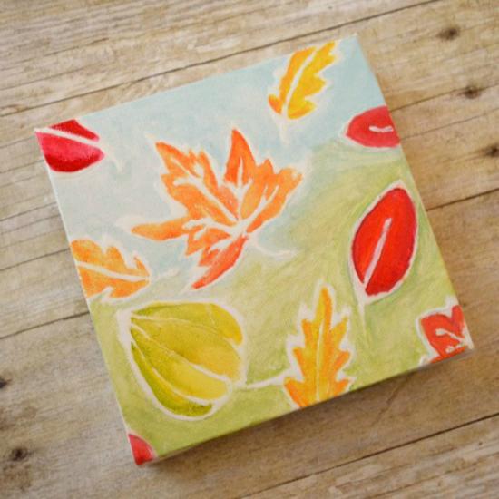Watercolor Resist Leaf Paintings