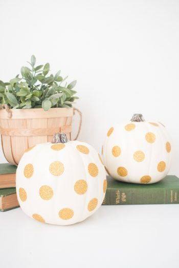 Gold Glitter Polka Dot Pumpkins