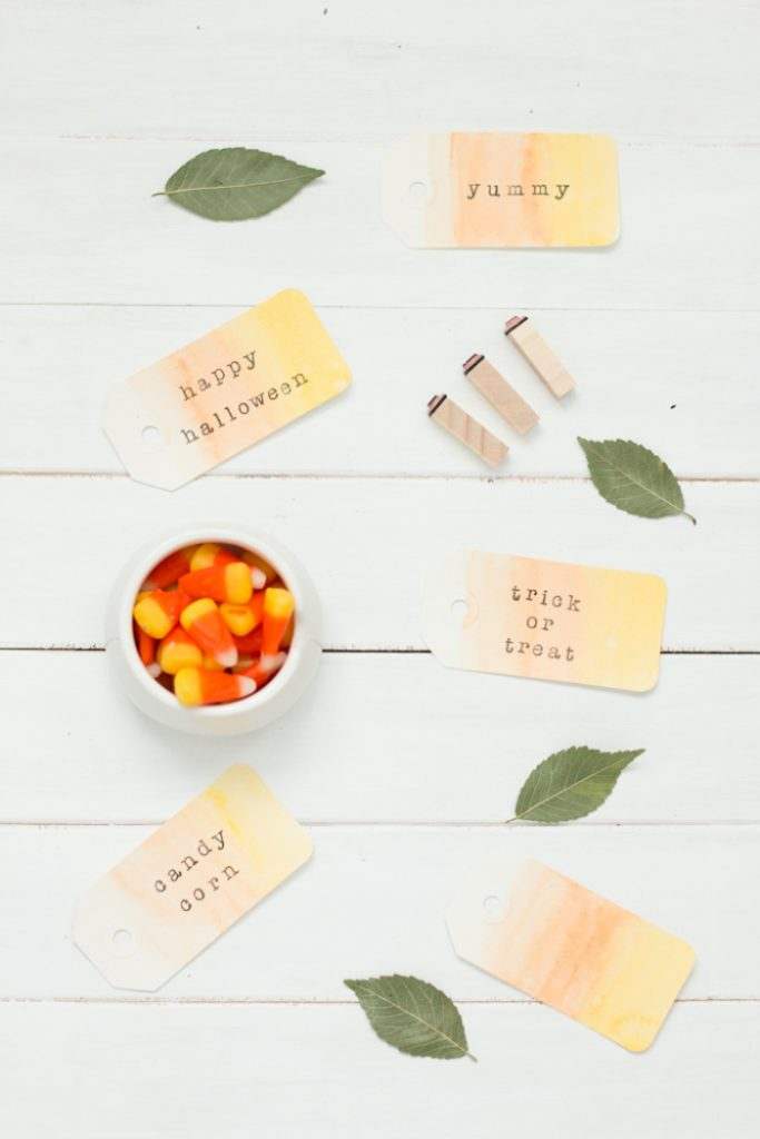 Watercolor Candy Corn Tags