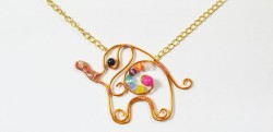 Wire-Wrapped Elephant Necklace