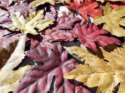 Chalk-Painted Silk Leaves