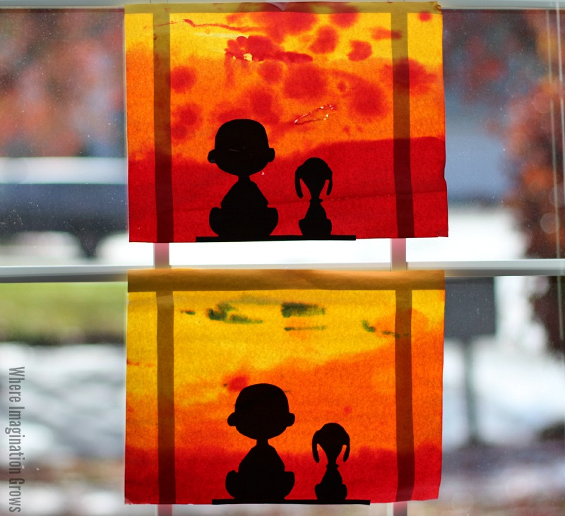 Charlie Brown and Snoopy Sunset Silhouette