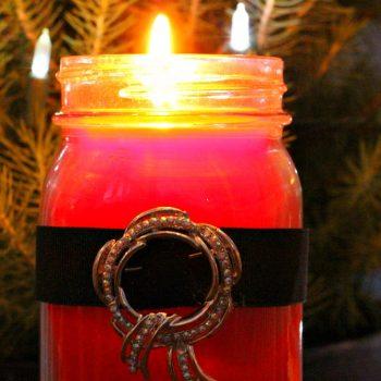 Mason Jar Santa Candle