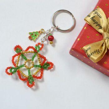 Seed Bead Snowflake Keychain
