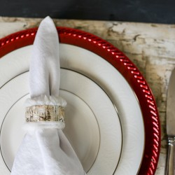 Faux Fur and Birch Napkin Rings