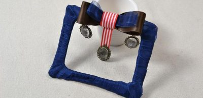 Ribbon Photo Frame with Bow Ornament