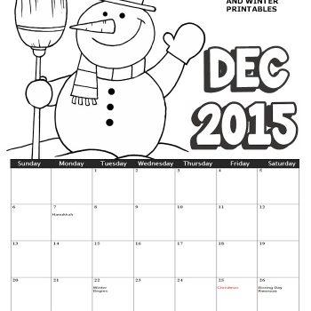December 2015 Coloring Calendar