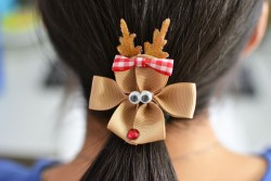 Reindeer Ribbon Hair Clips