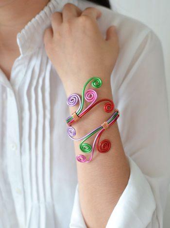Wire-Wrapped Bangle Bracelet