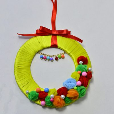 Ribbon, Bead and Pipe Cleaner Wreath