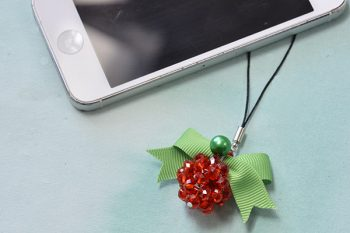 Beaded Christmas Ball Keychain
